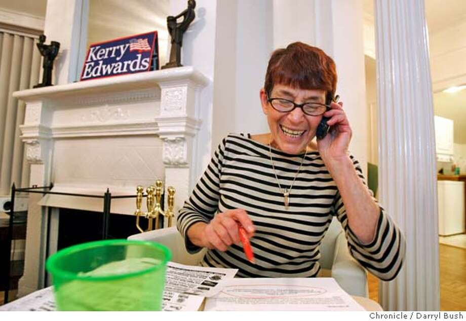 campaign29swing_069_db.jpg  Kerry-Edwards campaign volunteer, Susana Millman of San Francisco, makes cell phone calls to voters in Nevada to help support Kerry-Edwards from an apartment in the Tenderloin.  10/27/04 in San Francisco  Darryl Bush / The Chronicle MANDATORY CREDIT FOR PHOTOG AND SF CHRONICLE/ -MAGS OUT Metro#Metro#Chronicle#10/30/2004#ALL#5star##0422437404 Photo: Darryl Bush