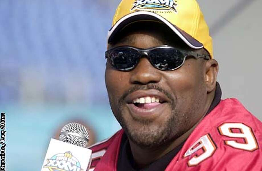 .jpg Tampa Bay Buccaneers Warren Sapp participates in the Photo Day at Qualcomm Stadium in San Diego, Ca. Tuesday January 21, 2003. The Oakland Raiders play the Tampa Bay Buccaneers in the Super Bowl in San Diego, Ca. Sunday January 26, 2003. Lacy Atkins/San Francisco Chronicle Photo: Lacy Atkins