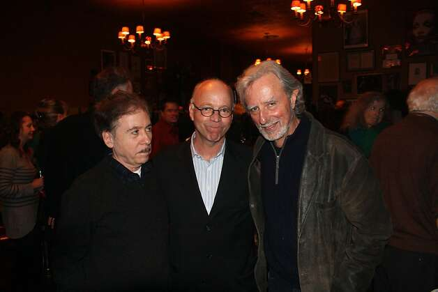 Filmmaker Terry Zwigoff (left) with SFFS Director Bingham Ray and filmmaker Phil Kaufman at Tosca Cafe. Dec. 2011. By Bill Proctor. Photo: Bill Proctor, Special To The Chronicle