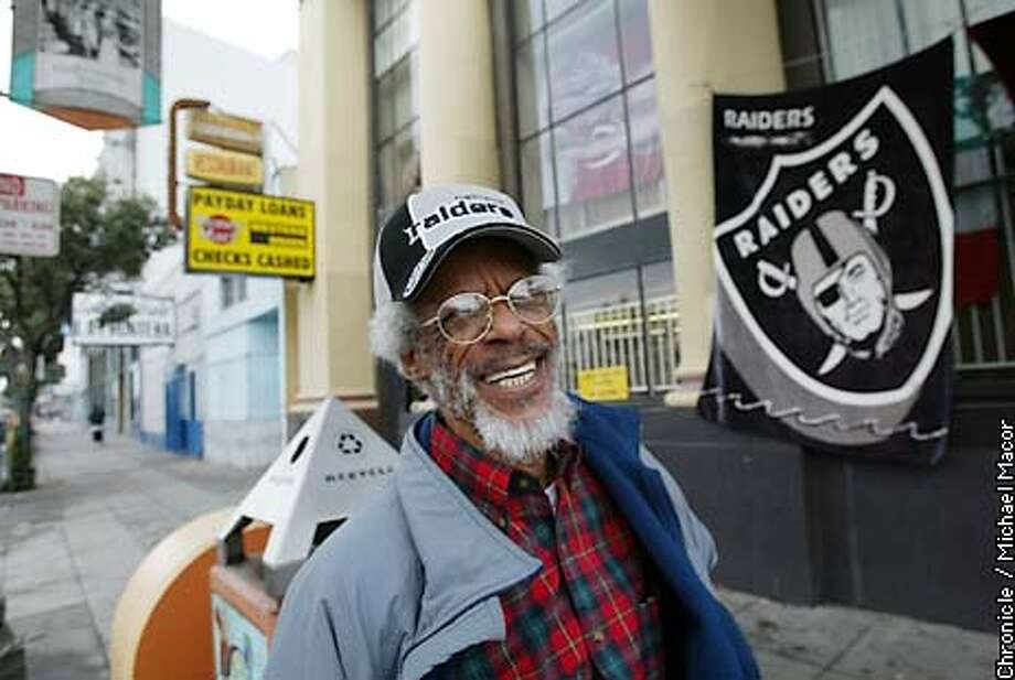 Raider fan Thomas McCraw, of Okalnd, at the corner of International Parkway and Fruitvale in Oakland. Looking for the heart of the Raider Nation. by Michael Macor/The Chronicle Photo: MICHAEL MACOR