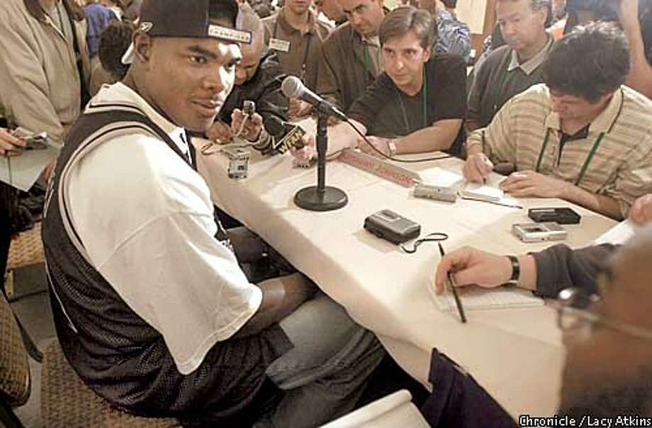 .jpg Tampa Bay Buccaneer's Keyshan Johnson answer the media questions during the first press conference of the 2003 Super Bowl being held at the Hilton Torrey Pines in La Jolla, Ca. January 20, 2003. The Oakland Raiders play the Tennessee Titan in the Super Bowl Sunday January 26, 2003. Lacy Atkins/San Francisco Chronicle Photo: Lacy Atkins