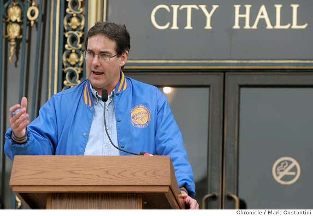 The hotel workers' union, Local 2 of what now is called Unite Here (combination of hotel workers and garment workers) hold a news conference on the steps of City Hall to discuss the union's labor dispute with major San Francisco hotels. Speaking is Mike Casey, president of Local 2 Event on 9/28/04 in SAN FRANCISCO Photo: Mark Costantini/S.F. Chronicle Ran on: 10-12-2004 Mike Casey Ran on: 10-19-2004 Mike Casey is president of Unite Here Local 2, which represents bellhops, clerks and other hotel workers. Business#Business#Chronicle#10/29/2004#ALL#5star##0422382503