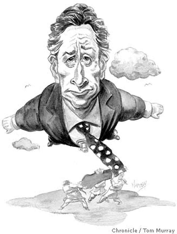 Jon Stewart. Chronicle illustration by Tom Murray