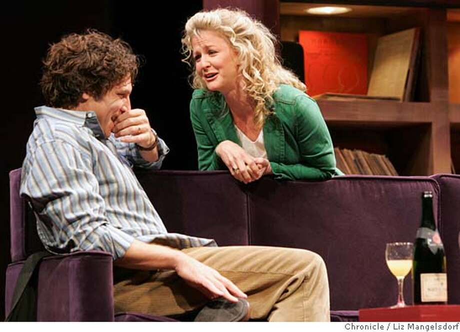 "Event on 10/20/04 in San Francisco.  Marco Barricelli, as ""Henry"", and Rene Augesen, as ""Annie"", during the first act.  Rehearsal of ""The Real Thing"", the new ACT play at the Geary theater.  Liz Mangelsdorf / The Chronicle Photo: Liz Mangelsdorf"