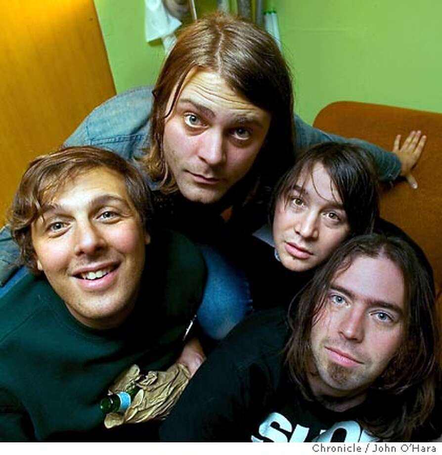 """2565 MISSION ST. SAN FRANCISCO,CA  psych-rock band, """"Cometw on Fire"""" photos in green room, as band was not going on until midnight  left to right  Utrillo Kushner  Noel Van Harmonson  Ben Flashman  Ethan Miller  '  photo/John O'hara Photo: John O'Hara"""