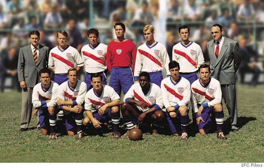 GAME22 (L-R) Front row, Jay Rodan (Pee Wee Wallace), John Harkes (Ed McIlenny), Louis Mandylor (Gino Pariani), Jimmy Jean-Louis (Joe Gaetjens), Nelson Vargas (Clarkie Sousa), Nino Da Silva (Eddie Sousa), (L-R) Back row, Players, Richard Jenik ( Joe Maca), Costas Mandylor (Charley �Gloves� Columbo), Gerard Butler (Frank Borghi), Zachery Ty Bryan (Harry Keough) Wes Bentley (Walter Bahr), John Rhys-Davies (Bill Jeffrey) in a scene from THE GAME OF THEIR LIVES. An IFC Films release.