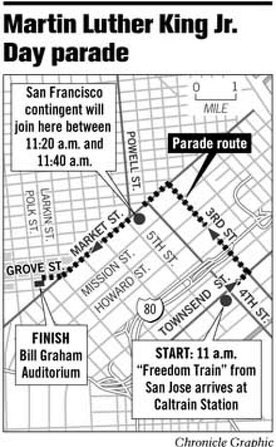 Martin Luther King Jr. Day Parade. Chronicle Graphic