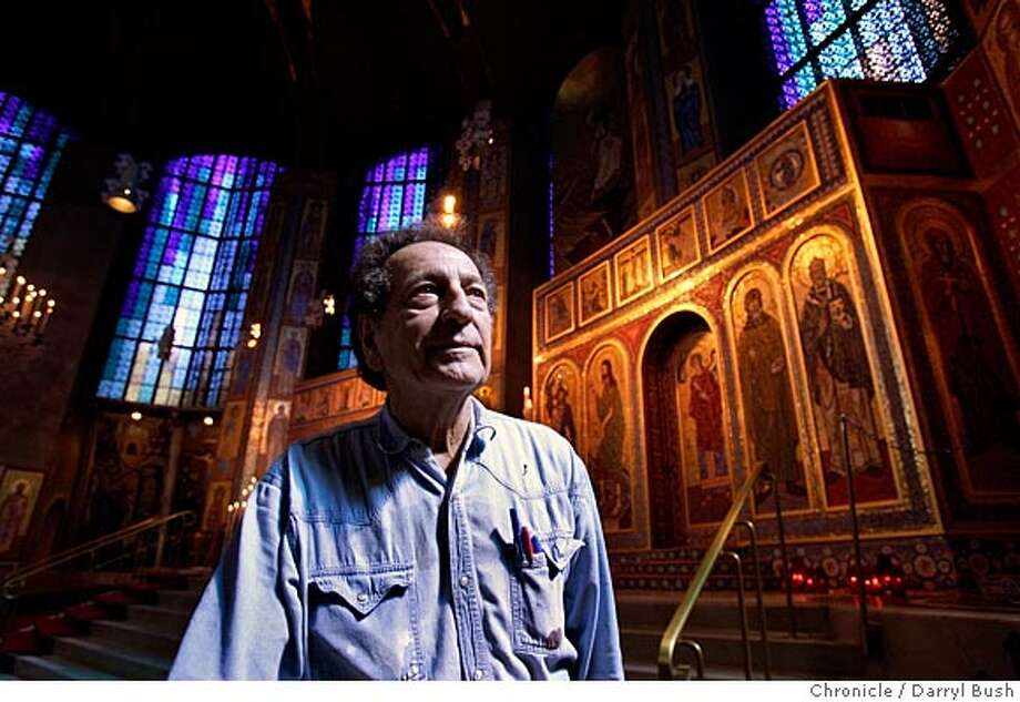 Bob Andrews, mosaic iconographer, stands in front of his mosaic icons at the Holy Trinity Greek Orthodox Church on Brotherhood Way.  Event on 4/13/05 in San Francisco.  Darryl Bush / The Chronicle Photo: Darryl Bush