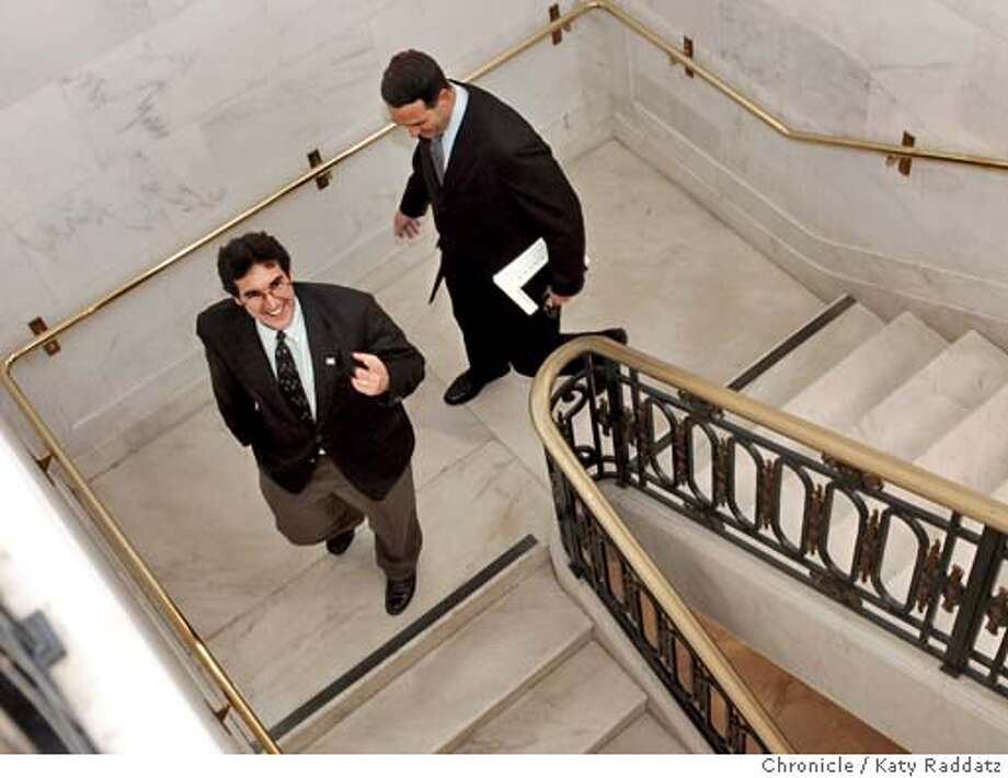 HOTEL_rad.jpg SHOWN: Leaving Mayor Newsom's office via the back stairs are Mike Casey (looking up) and Matt Adams. Mike Casey is the President of Local 2; Matt Adams is the Vice President and Managing Director of Hyatt Regency. Hotel negotiations moved to Mayor Newsom's office in City Hall. George Raine is the reporter. Katy Raddatz / The Chronicle Photo: Katy Raddatz