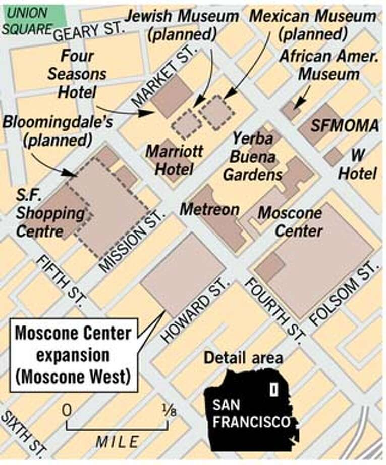 Moscone Center West. Chronicle Graphic