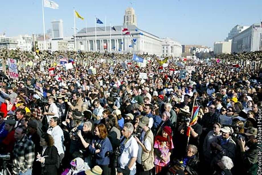 PEACE19K-C-18JAN03-MT-MAC Thousands of people jam into Civic Center Park for the ralley.. Anti-war protest fills the streets of San Francisco. by Michael Macor/The Chronicle
