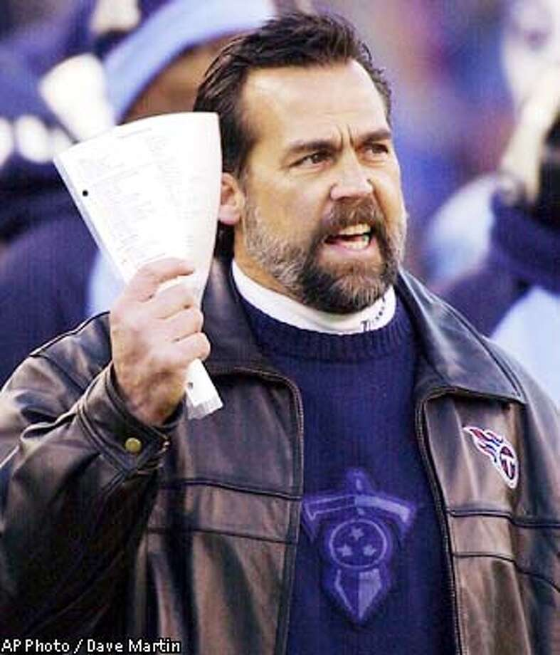 Tennessee Titans head coach Jeff Fisher reacts on the sidelines during first quarter play in the AFC divisional playoff game against the Pittsburgh Steelers Saturday, Jan. 11, 2003, in Nashville, Tenn. (AP Photo / Dave Martin) Photo: DAVE MARTIN