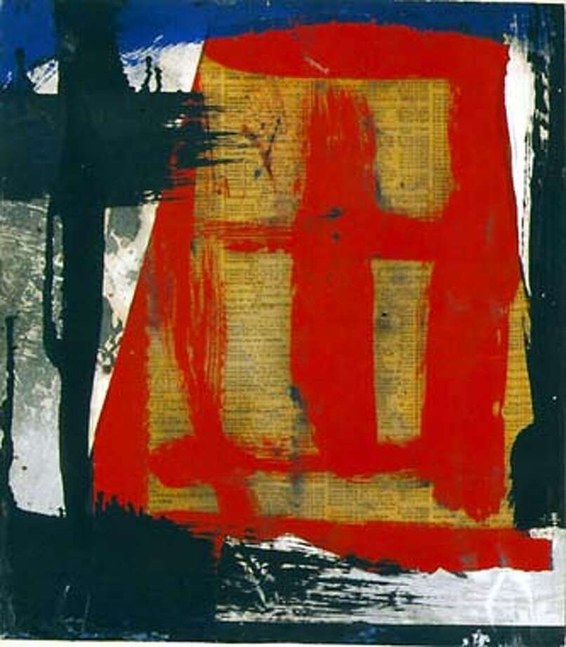Image 4: Berggruen Gallery.Kline  Franz Kline Untitled 1952  12 1/2 x 11 1/2 inches  oil and collage on telephone book paper