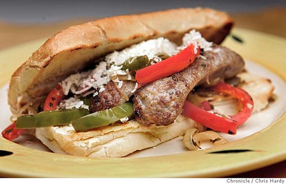 Wine pairing recipe to go with misc California red blends Sausage sandwich with onions and red and bell peppers in San Francisco  3/31/05 Chris Hardy / San Francisco Chronicle Photo: Chris Hardy