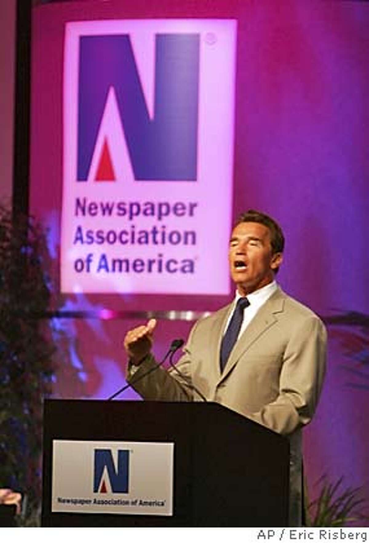 California Gov. Arnold Schwarzenegger addresses a luncheon of the Newspaper Association of America during their convention in San Francisco, Tuesday April 19, 2005.(AP Photo/Eric Risberg)