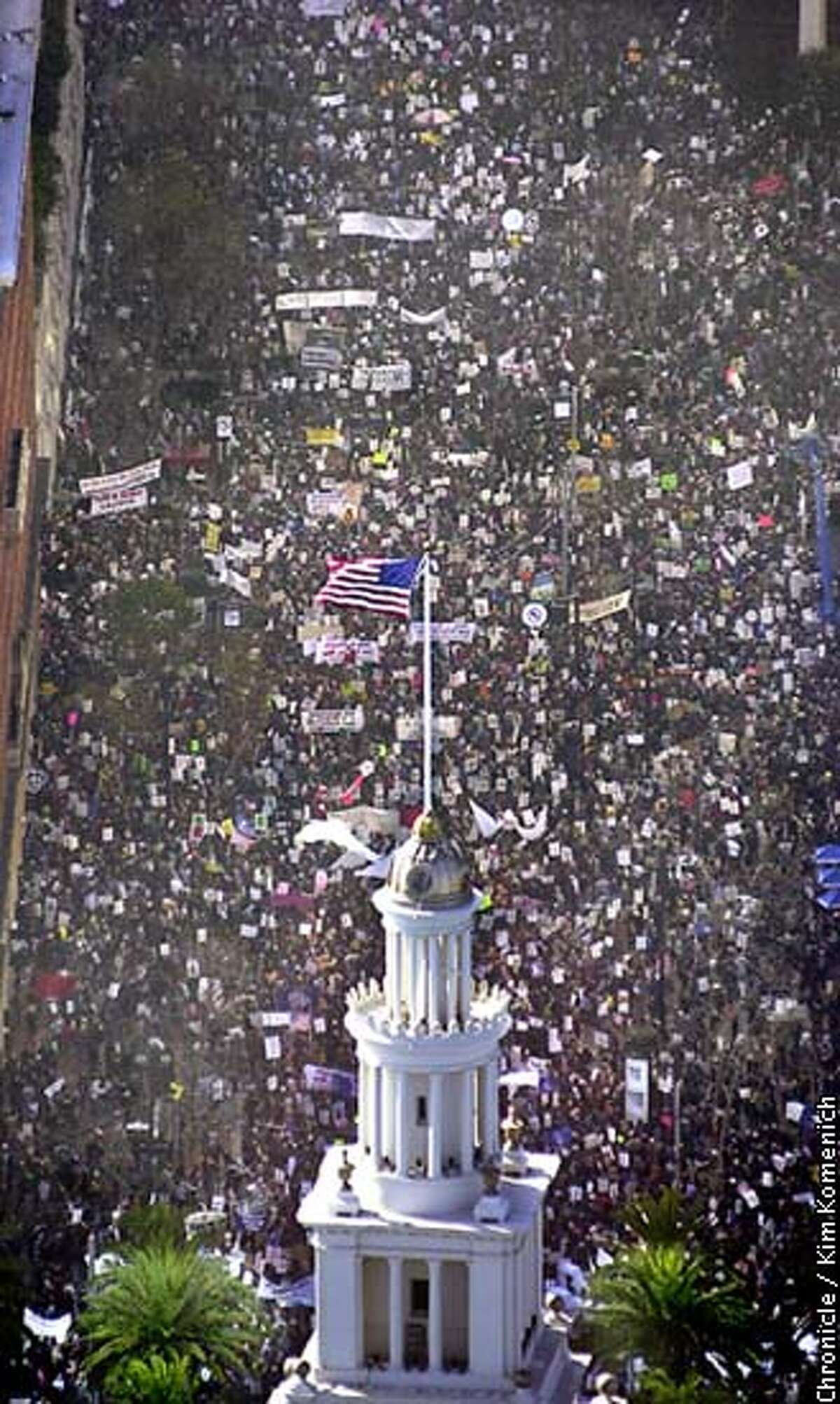 Aerial photos of tens of thousands of anti-war demonstrators as they march from Justin Herman Plaza to the S.F. Civic Center to protest the U.S. policy on Iraq (and a few other things). CHRONICLE PHOTO BY KIM KOMENICH