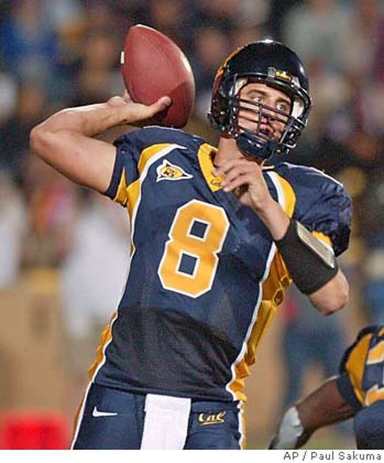 California quarterback Aaron Rodgers passes against UCLA in the third quarter, Saturday, Oct. 16, 2004 in Berkeley, Calif. Cal defeated UCLA 45-28. (AP Photo/Paul Sakuma) Ran on: 10-24-2004  Cal QB Aaron Rodgers wants more crowd noise. Ran on: 10-24-2004  Cal QB Aaron Rodgers wants more crowd noise. Ran on: 10-27-2004  Aaron Rodgers has a decision to make after the season: whether or not to enter the NFL Draft, in which he could be the No. 1 pick. Ran on: 10-27-2004  Aaron Rodgers has a decision to make after the season: whether or not to enter the NFL Draft, in which he could be the No. 1 pick. Ran on: 10-27-2004  Aaron Rodgers has a decision to make after the season: whether or not to enter the NFL Draft, in which he could be the No. 1 pick. Ran on: 11-02-2004 Ran on: 11-02-2004 Ran on: 12-06-2004  Cal quarterback Aaron Rodgers wonders what Cal did wrong as voters in the media and coaches polls gave Texas enough support to knock the Bears out of the Rose Bowl. Photo: PAUL SAKUMA