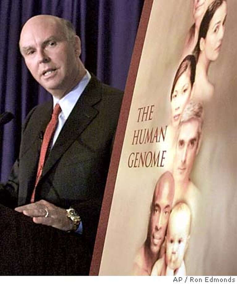 Celera Genomics President J. Craig Venter speaks at a Washington news conference Monday, Feb. 12, 2001, to discuss genome research findings. (AP Photo/Ron Edmonds) ALSO RAN 01/23/2002 Ran on: 02-21-2005  Bono CAT Photo: RON EDMONDS