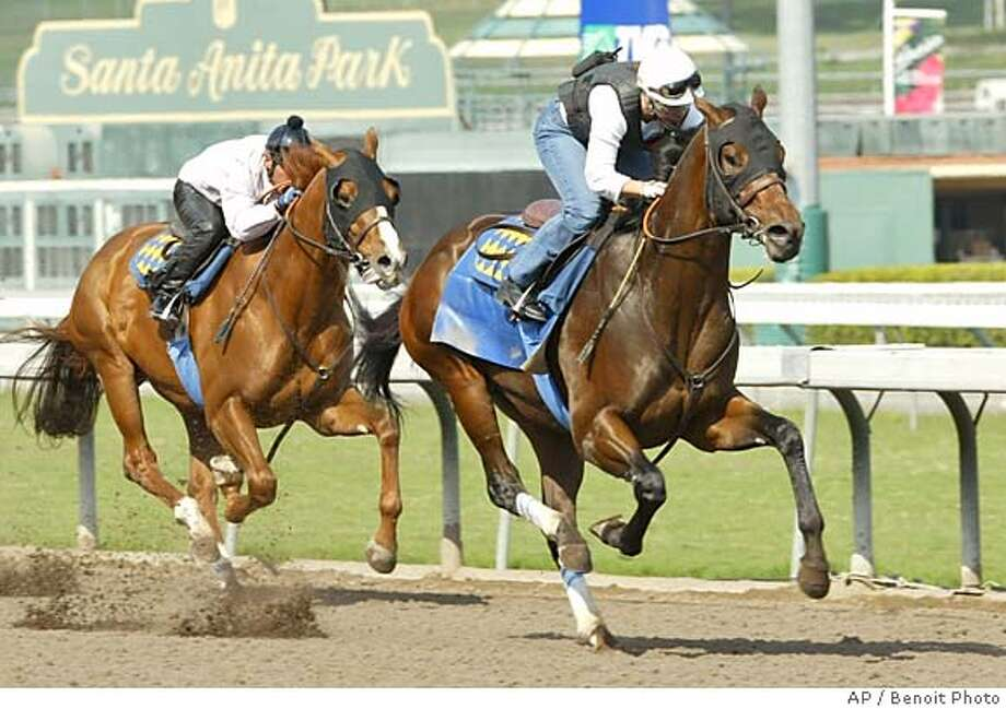 Roman Ruler, right, ridden by exercise rider Dana Barnes, goes through his final major workout, Sunday, Oct. 24, 2004, at Santa Anita Park, Arcadia, Calif., before the Breeders Cup next week in Texas. Working with Roman Ruler is stablemate Pizza George. (AP Photo/Benoit Photo) PHOTO PROVIDED BY BENOIT PHOTO, Sports#Sports#Chronicle#10/26/2004#ALL#5star##0422430118