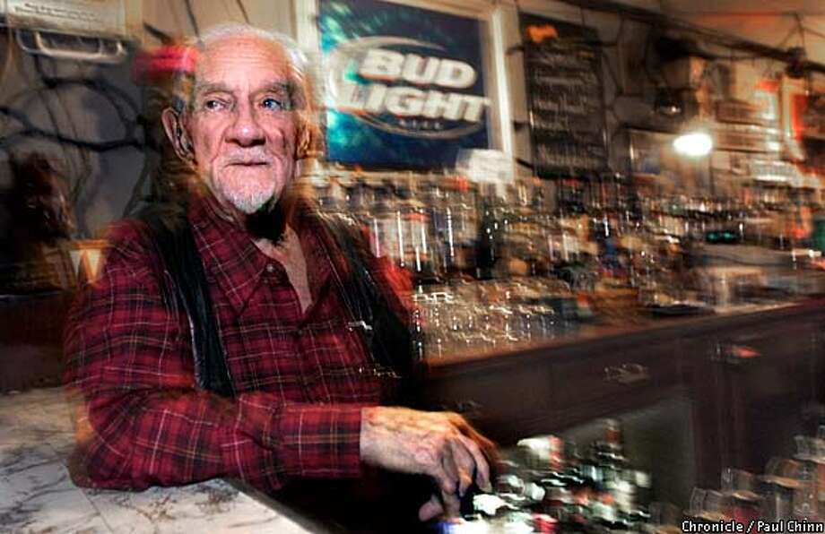 Todd Ogden, 93, still puts in 12-hour shifts as a bartender at El Cerrito's Forum Club. Chronicle photo by Paul Chinn