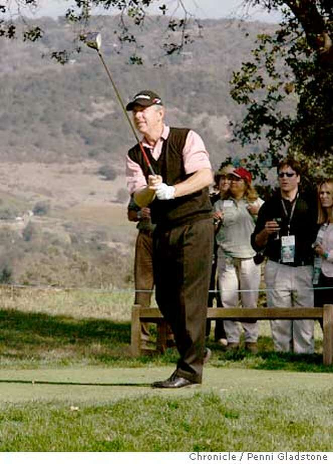 "schwabgolftourny_289_pg.jpg  Winner Hale Irwin tees off on the 18th hole.  The charles schwab ""champions tour"" golf championship of Seniors. Sonoma on 10/25/04 by Penni Gladstone  San Francisco Chronicle Photo: Penni Gladstone"