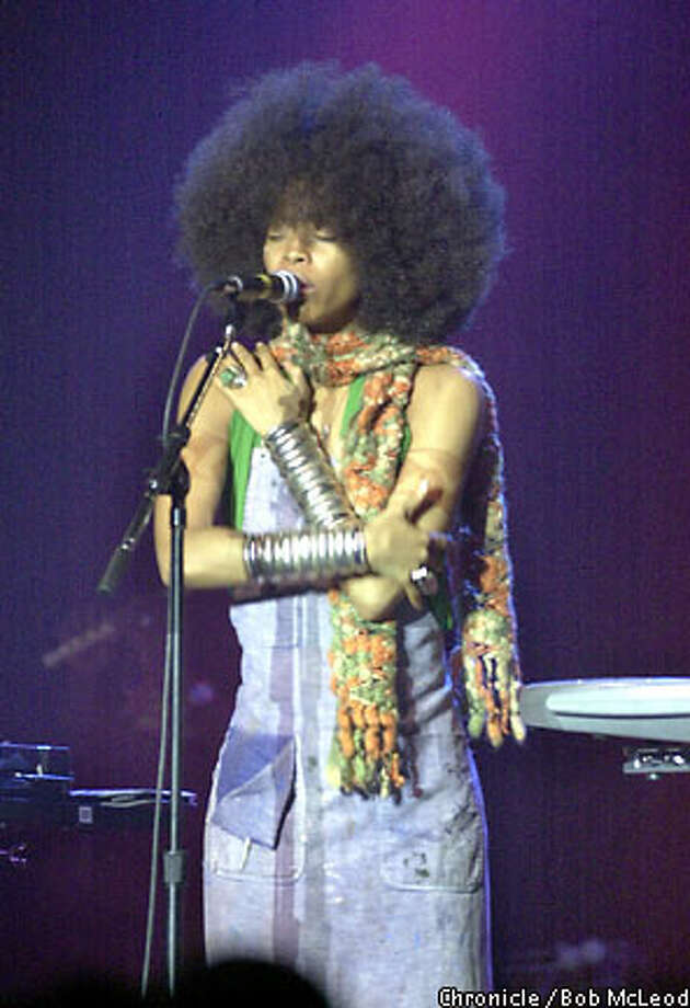 Hip-hop/soul diva Erykah Badu called for love and tolerance during her concert at the Fillmore. Chronicle photo by Bob McLeod