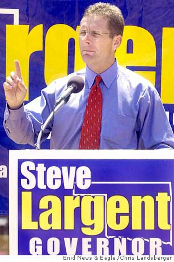 ** FILE ** NFL Hall of Fame inductee Steve Largent speaks at one of four stops on his campaign rally as he announces his candidacy for governor of Oklahoma to members of the Garfield County Republicans Club, at the Cherokee Strip Conference Center in Enid, Okla., in this June 11, 2002 photo. Name recognition: It is the lifeblood of politics and any athlete who makes the jump to politics clearly knows its worth.(AP Photo/Enid News & Eagle, Chris Landsberger) Ran on: 10-25-2004  Largent Photo: CHRIS LANDSBERGER