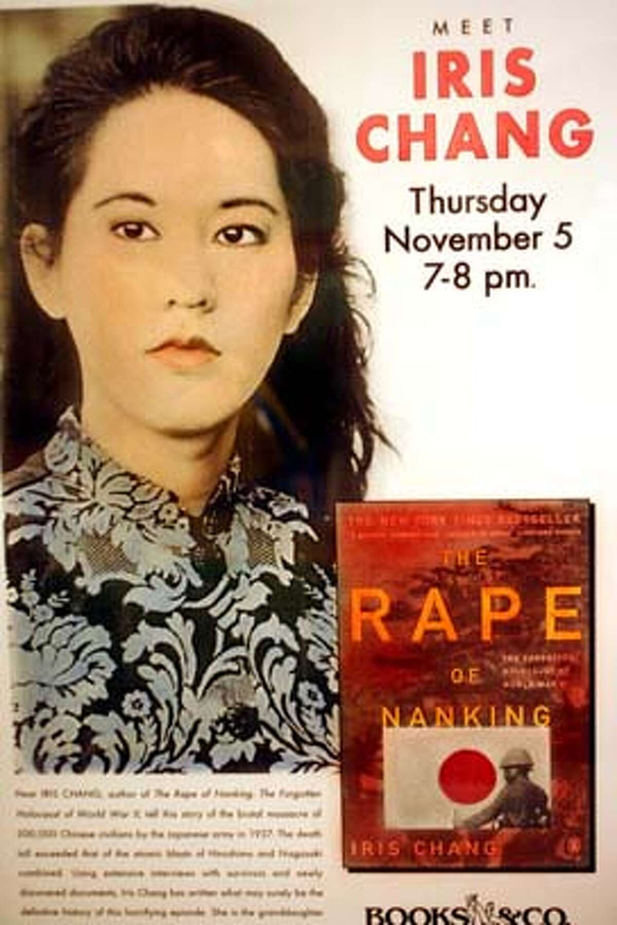 Event on 11/16/04 in San Jose. copy photo of a poster promoting Iris Chang's book