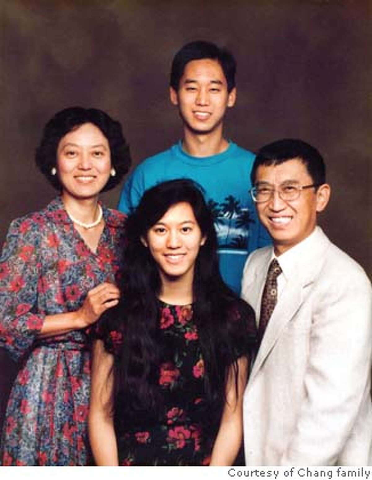 iris changs family iris during college years with mr and mrs chang and brother michael courtesy chang family