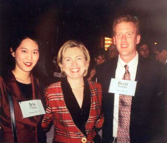 Event on 11/16/04 in San Jose.  File photo of Iris Chang and her husband Brett Douglas with Hillary Rodham Clinton.  Photos for a profile of Iris Chang, a prominent author and historian, who died of a self-inflicted gunshot wound. We go through her and her husband's (Brett Douglas) house in San jose.  Liz Mangelsdorf / The Chronicle