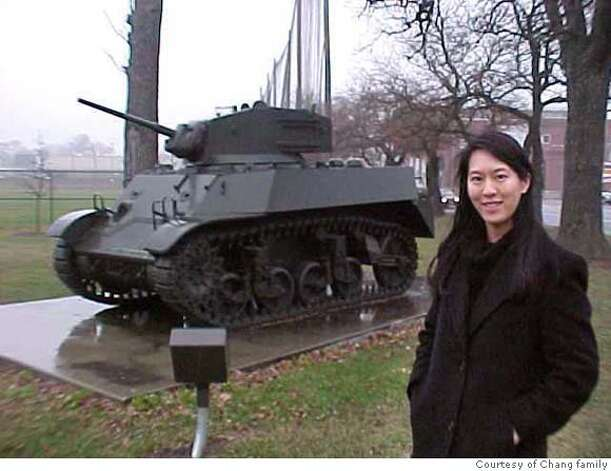 iris chang at Bataan tank in wisconsin courtesy of the bataan commenorative research project