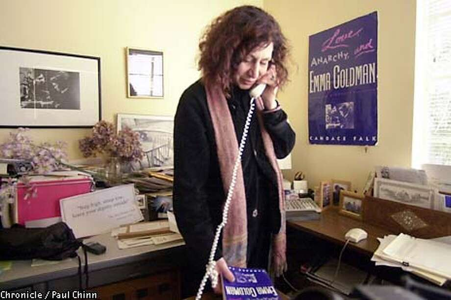 Candace Falk spent most of the day on the phone talking about the controversy. A fundraising letter for the Emma Goldman Project written by Dr. Candace Falk was censored by UC Berkeley officials.  PAUL CHINN/SF CHRONICLE Photo: PAUL CHINN