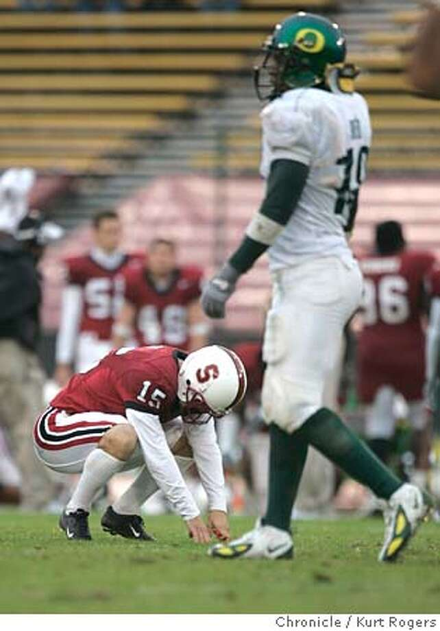 Michael Sgroi's missed field goal with one second on the clock in the forth quarter that would have tied the game and sent it into over time.  The Stanford Cardinal Vs Oregon Ducks at Stanford 10/23/04 in Palo Alto,CA.  KURT ROGERS/THE CHRONICLE Photo: KURT ROGERS