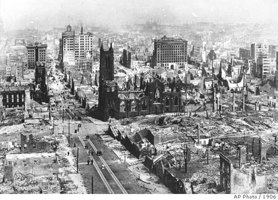 This is an April 1906 photo of the earthquake damage in San Francisco, Calif. (AP Photo) ALSO Ran on: 01-15-2005  The magnitude 8 temblor that hit on April 18, 1906, left large sections of San Francisco in ruins, but the official death toll was set at 478.