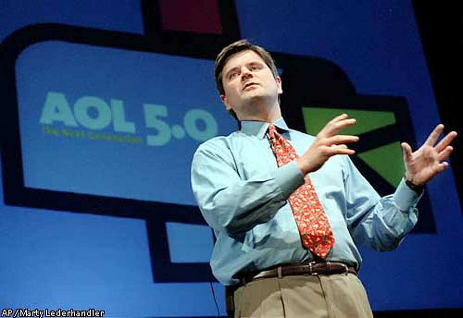 FILE -- Steve Case, chairman and chief executive officer of America Online Inc., gestures during a news conference in New York Tuesday Oct. 5, 1999. In what would be the biggest corporate merger ever, AOL announced Monday, Jan. 10, 2000, its acquisition of Time Warner, the world's largest media and entertainment company for about $166 billion in stock. (AP Photo/Marty Lederhandler)