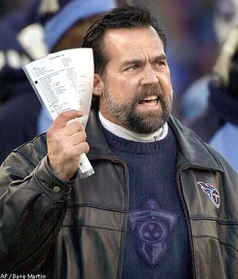 Tennessee Titans head coach Jeff Fisher reacts on the sidelines during first quarter play in the AFC divisional playoff game against the Pittsburgh Steelers Saturday, Jan. 11, 2003, in Nashville, Tenn. (AP Photo/Dave Martin) Photo: DAVE MARTIN