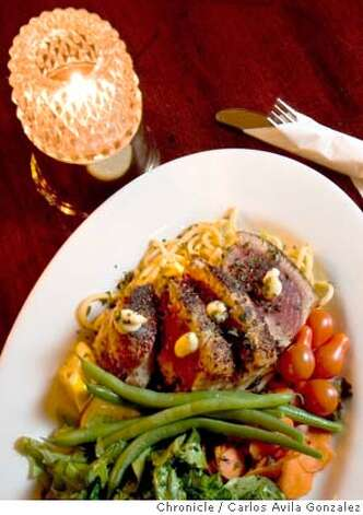 The Seared Ahi (with Miso Aioli and Sesame Scallion Udon Noodles) served at Cafe Du Nord. This is for the Sunday Magazine restaurant review covering music venues that serve food, including Cafe Du Nord. Photo by Carlos Avila Gonzalez / The San Francisco Chronicle  Photo taken on 3/23/05 in San Francisco, CA. Photo: Carlos Avila Gonzalez