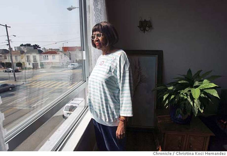 Criss looks out her living room window. Leborah Criss, 70, has been living in a co-opt run by the Progress Foundation for 5 years. Before that she was on the street, and says that would be where she would be without the program. She can stay there rent-free as long as she wants as long as she particiapes in weThis is a story on Proposition 63, which would tax millionaires and shift the money to mental health programs. Programs like the one run by the Progress Foundation would be in line to get money because they support the entire person not just treat the mental illness. Photo taken on 10/15/04 in San Francisco, CA. Photo by CHRISTINA KOCI HERNANDEZ/The San Francisco Chronicle Photo: CHRISTINA KOCI HERNANDEZ