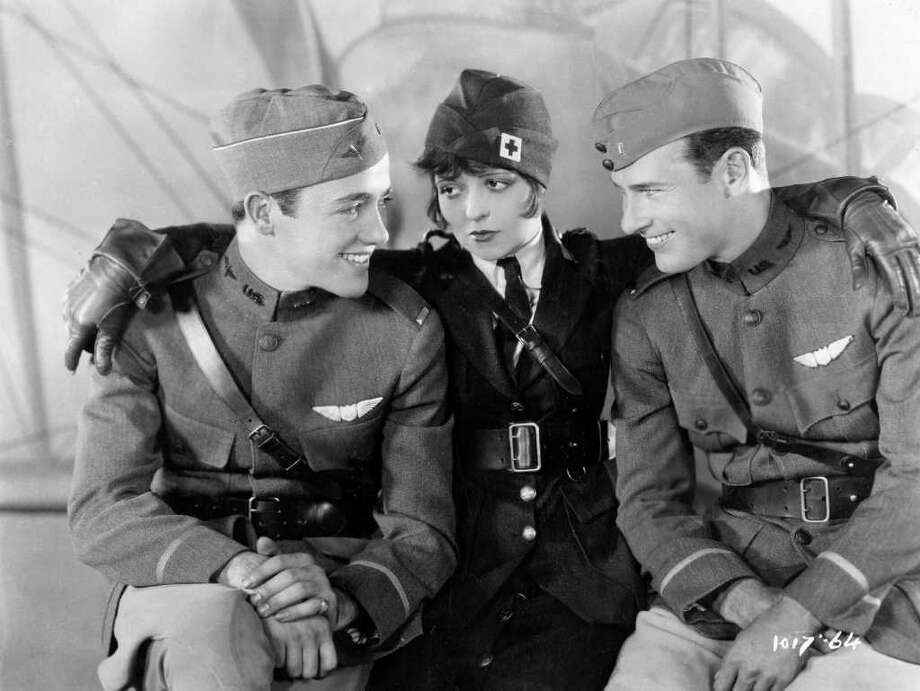 "Charles ""Buddy"" Rogers (from left), Clara Bow and Richard Arlen star in the 1927 movie ""Wings."" Photo: Paramount Pictures / Courtesy of AMPAS"