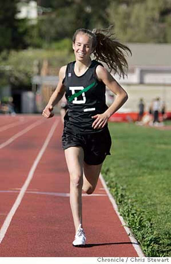 Event on 4/4/05 in San Rafael.  Drake High School distance runner Katelyn Calvelli runs the 1500 meters in a meet against Terra Linda HS at San Rafael HS. She has had enormous success early in her career, running without rivals in the Marin County Athletic League. She qualified for the state meet in the 3200 meters as a freshman and looks to repeat that performance this year. Also, sprinter Alex Pearlstone and coach Bill Taylor.  Chris Stewart / The Chronicle Photo: Chris Stewart
