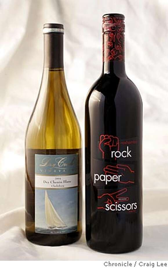 Bargain wines. Photo of 2004 Dry Creek Vineyard Clarksburg Chenin Blanc (left), and 2003 Roshambo Rock Paper Scissors California Merlot (right).  Event on 4/7/05 in San Francisco. Craig Lee / The Chronicle Photo: Craig Lee