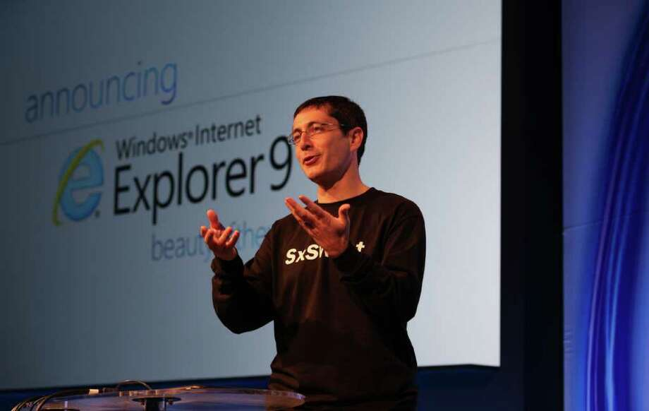 Dean Hachamovitch, Microsoft's former corporate vice president of Internet Explorer, announces the launch of the latest version of the browser, Internet Explorer 9, at SXSW March 14, 2011 in Austin, Texas. Photo: Handout, Getty Images / 2011 Microsoft