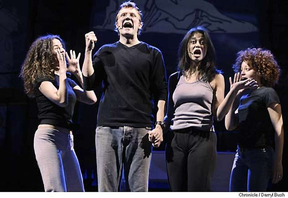 """lennon_143_db.jpg  Will Chase and Julie Danao (center) play John Lennon and Yoko Ono in an ensemble cast, as they dance and sing during a rehearsal (non-dress) of the production of """"Lennon"""" a new musical opening at the Orpheum Theater on April 12th.  Event on 4/2/05 in San Francisco.  Darryl Bush / The Chronicle MANDATORY CREDIT FOR PHOTOG AND SF CHRONICLE/ -MAGS OUT Photo: Darryl Bush"""