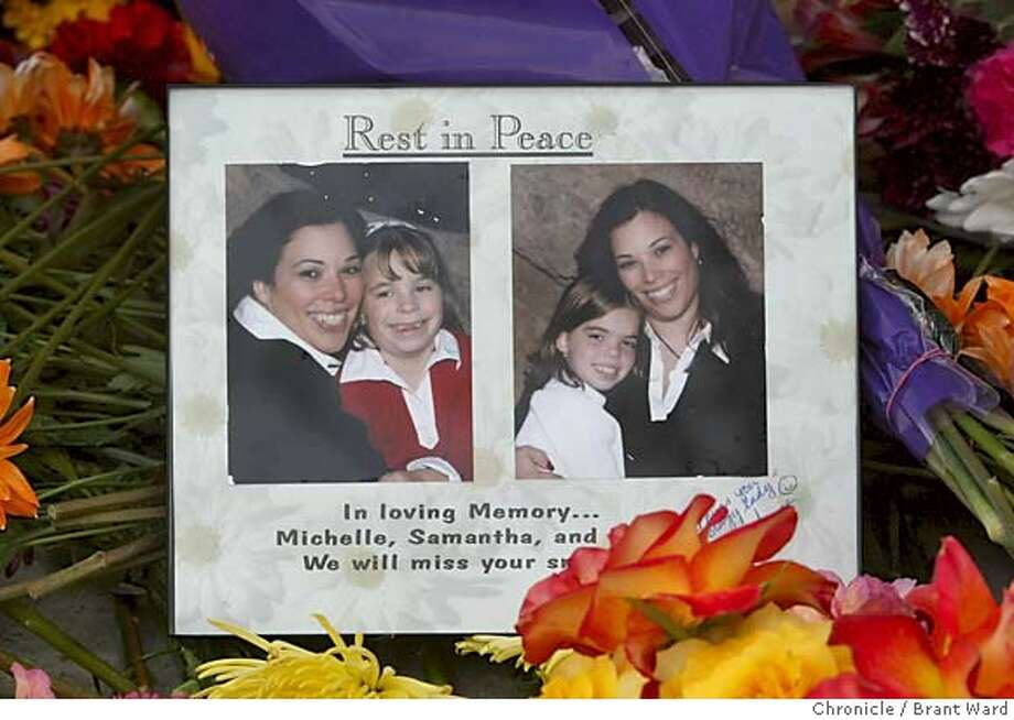 brentwood033_ward.jpg Two photographs of the victims laid in the front yard: mother Michelle Celebrini and daughter Nina on the left, and Michelle and daughter Samantha Foutch, on the right.  Three members of the Celebrini family from Brentwood were found dead in their Brentwood home Saturday. On Sunday, friends and neighbors gathered to remember the mother and  two daughters.  10/17/04 Brant Ward Metro#Metro#Chronicle#10/18/2004#ALL#5star##0422418209 Photo: Brant Ward