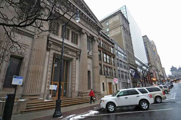 View of 60 State Street, a former bank building that the city of Albany rejected as the site for a basement nightclub, on Monday Jan. 23, 2012 in Albany, NY.  (Philip Kamrass / Times Union ) Photo: Philip Kamrass / 00016183A
