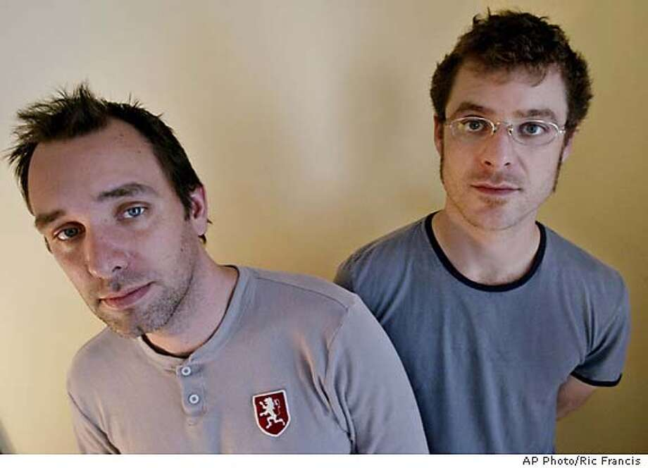 "Trey Parker, left, and Matt Stone, the makers of ""South Park"" and ""Team America: World Police,"" pose for a photograph Sunday, Oct. 10, 2004, in Beverly Hills, Calif. (AP Photo/Ric Francis) Datebook#Datebook#SundayDateBook#10/17/04#ALL#Advance##0422407647 Photo: RIC FRANCIS"