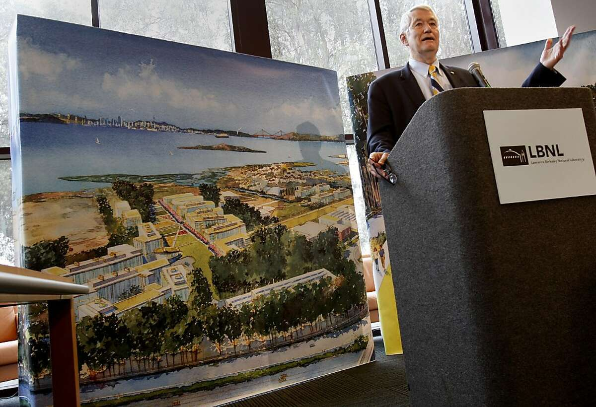 Robert Birgeneau, the Chancellor of UC Berkeley, spoke in front of an artist's rendering of what the new laboratory might look like. A UC Richmond field station was chosen as the second campus of the Lawrence Berkeley National Laboratory Monday January 23, 2012.
