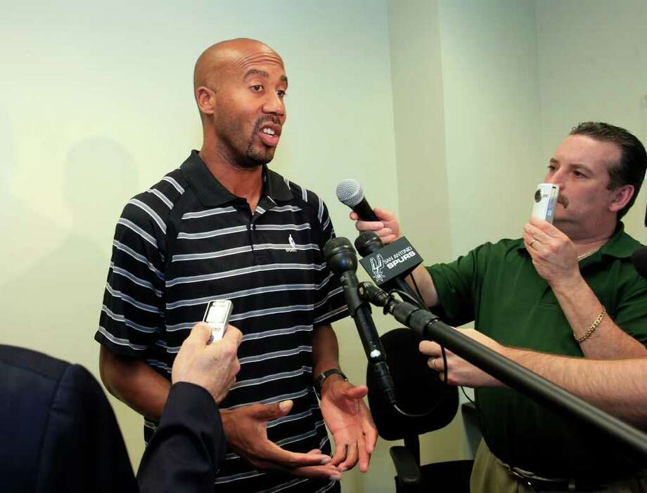 SPORTS; BOWEN JERSEY JMS; 01/23/12; Bruce Bowen talks to the media regarding the Spurs' announcement that the organization will retire his jersey, Monday afternoon, January 26, 2012 at the Spurs practice facility. ( Photo by J. Michael Short / SPECIAL ) Photo: J. Michael Short , Special To The Express-News / The San Antonio Express-News