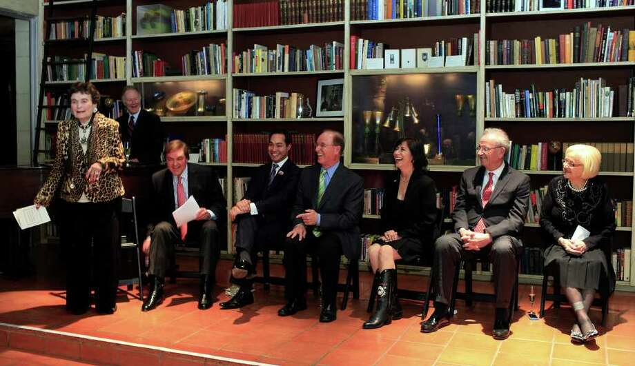 The city's movers and shakers are all on hand as Lila Cockrell, from the left, encites laughter with her remarks from event host Bruce Bugg, Jr., mayor Julian Castro, county judge Nelson Wolff, event chairwoman Evangelina Flores, former mayor Phil Hardberger and Rosemary Kowalski at Mayor Emeritus Lila Cockrell's 90th Birthday Celebration, Thursday, January 19, 2012 at The Tobin Estate in San Antonio. Photo: J. MICHAEL SHORT, SPECIAL TO THE EXPRESS-NEWS / THE SAN ANTONIO EXPRESS-NEWS