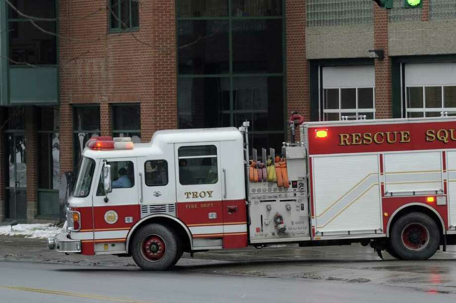 Fire apparatus leaves Central Fire Station in Troy, N.Y. Jan. 23, 2012.      ( Skip Dickstein/Times Union) Photo: Skip Dickstein / 2011